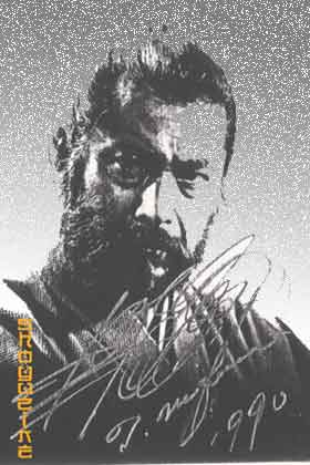 autographed photo of Toshiro Mifune in character.
